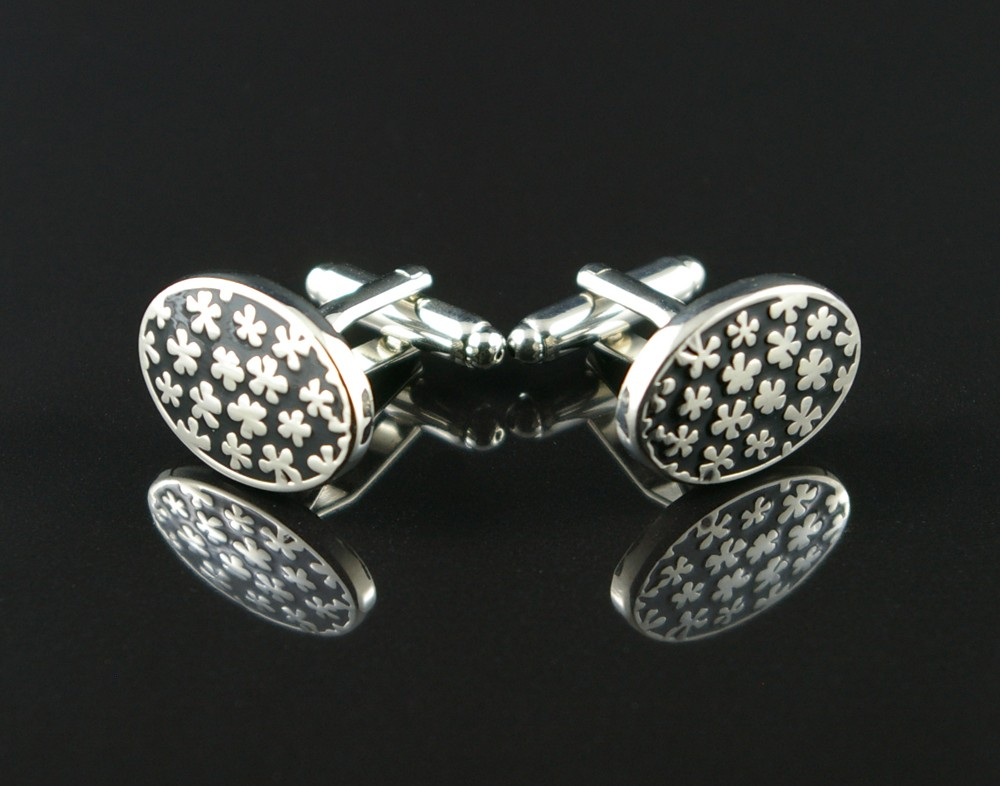 Black Cufflinks with Flowers