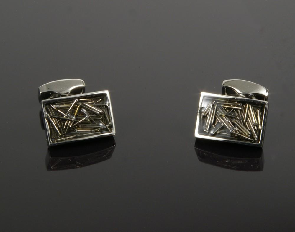Black Enamel Cufflinks with Metal Lines
