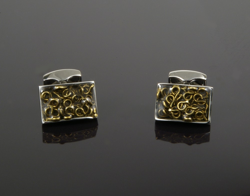 Enamel Cufflinks with Squiggly Lines
