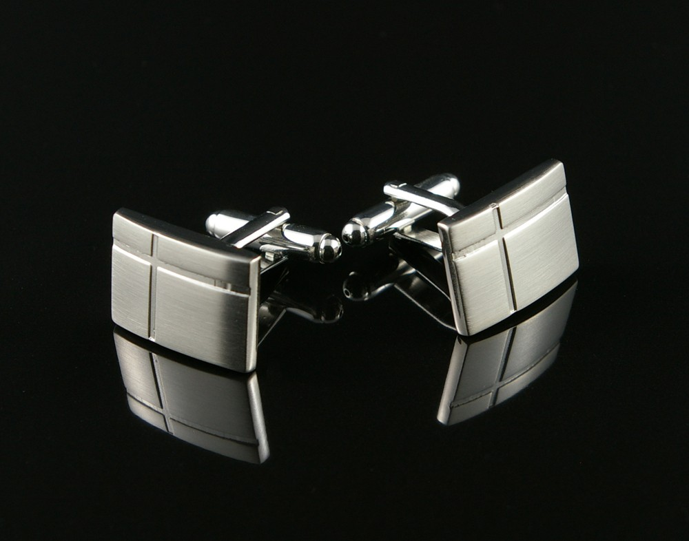 Brushed Silver Cufflinks with Crossed Lines