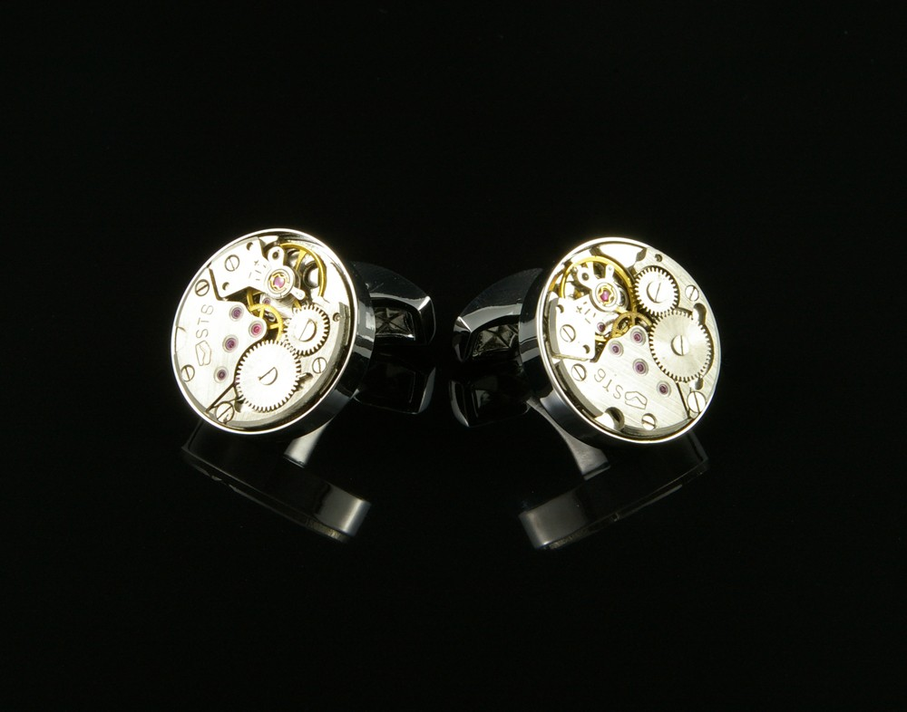 Round Clock Gear Cufflinks