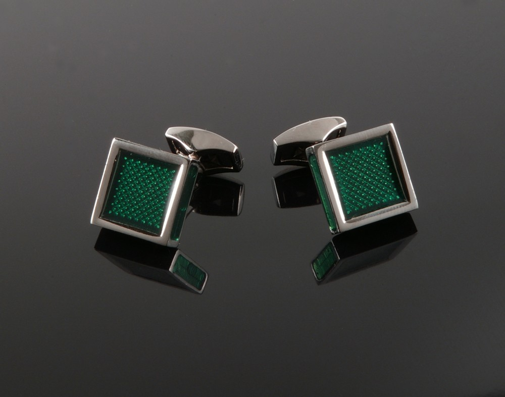 Green Enamel Square Cufflinks