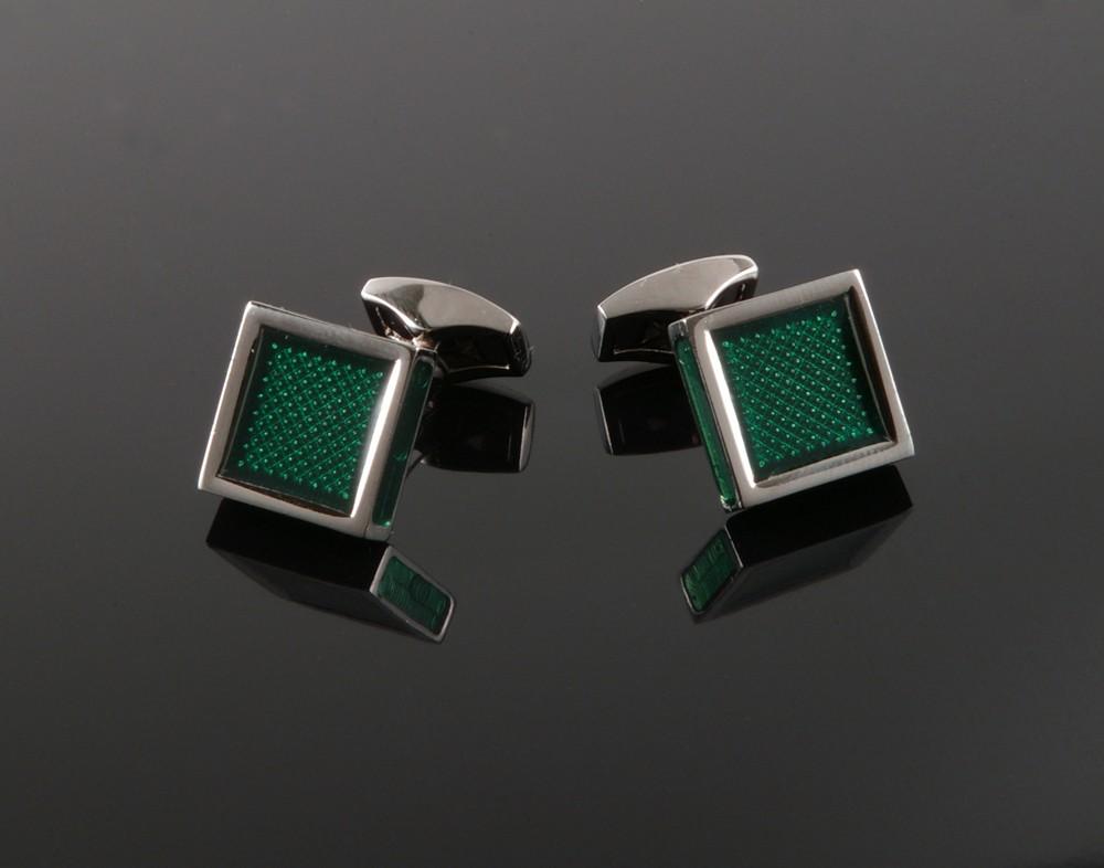Green Enamel Square Cufflinks