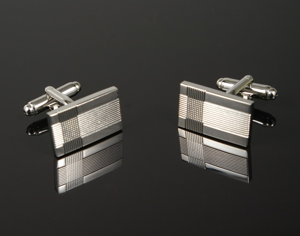 Silver Grooved Cufflinks