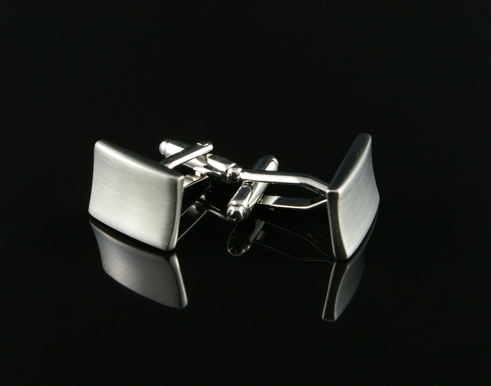 Indented Brushed Silver Cufflinks