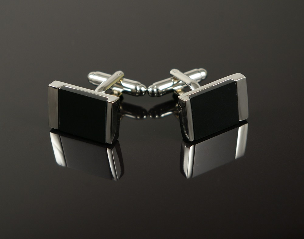 Black Cateye Rectangle Cufflinks