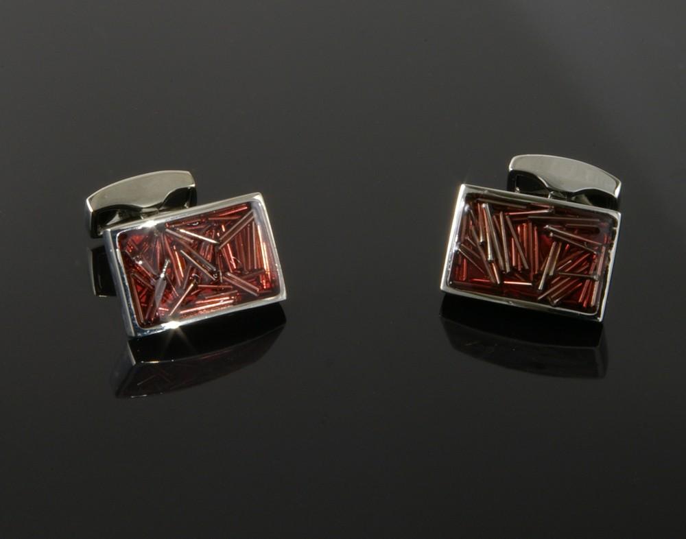 Red Enamel Cufflinks with Metal Lines