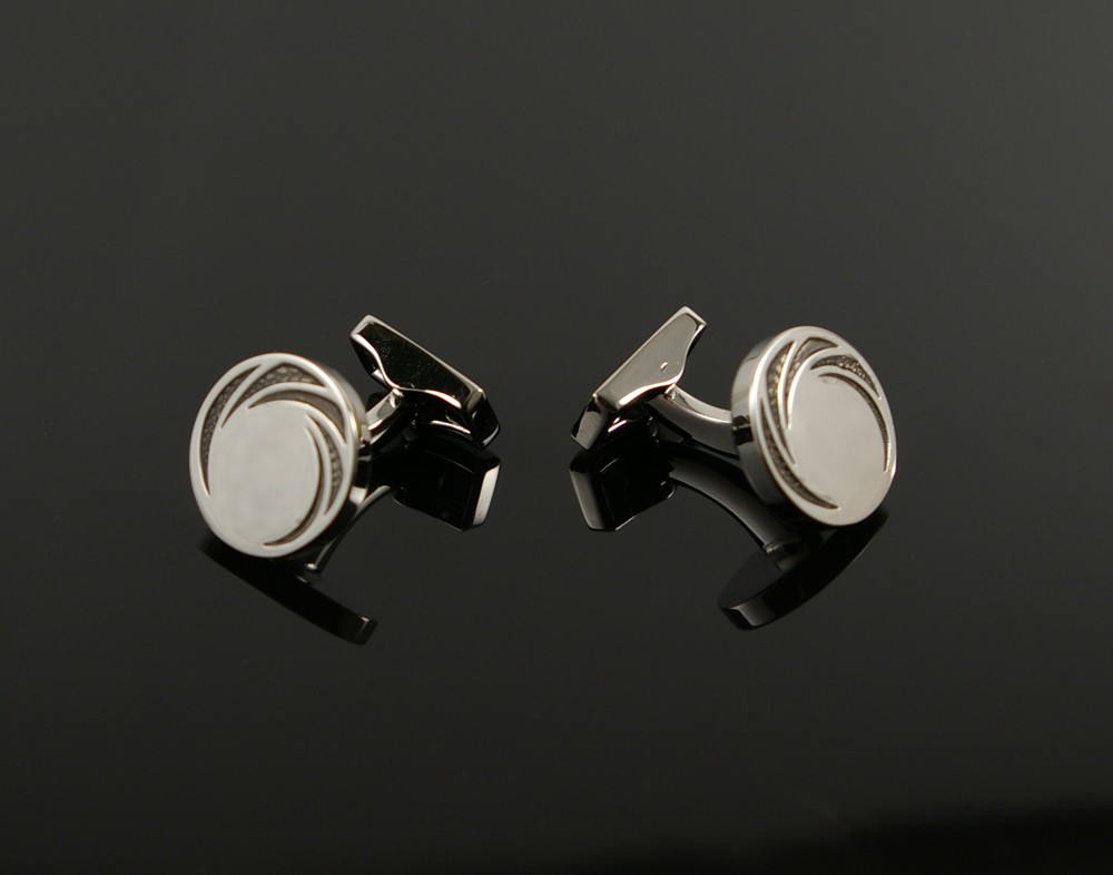 Inlaid Silver Circle Cufflinks