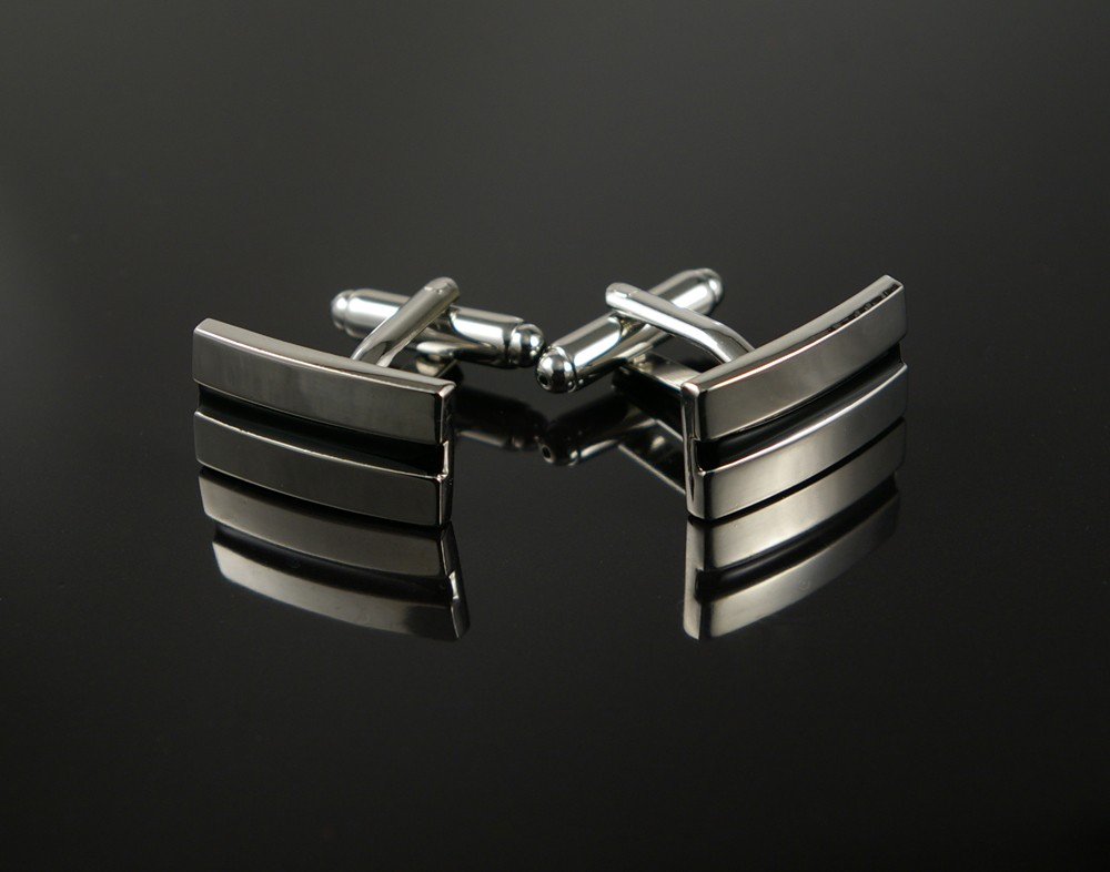 Elegant Silver Cufflinks with Black Line