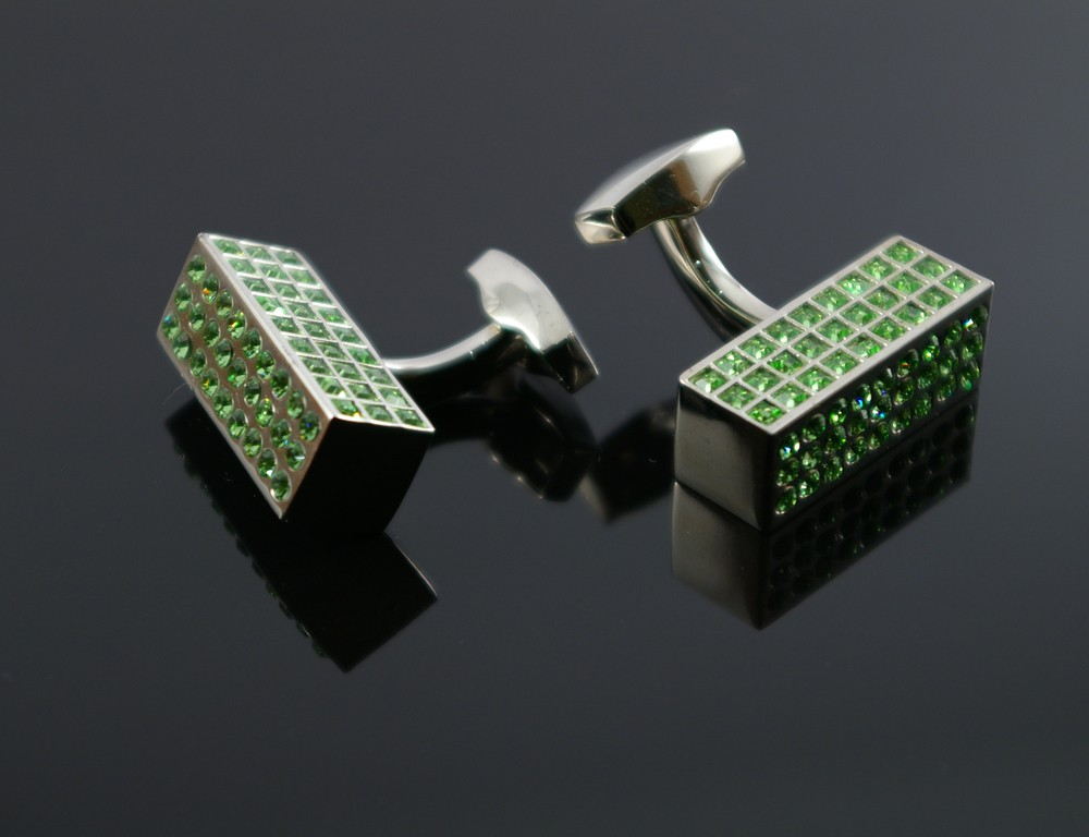 Strong Silver Rectangle with Swarovski Crystal Cufflinks