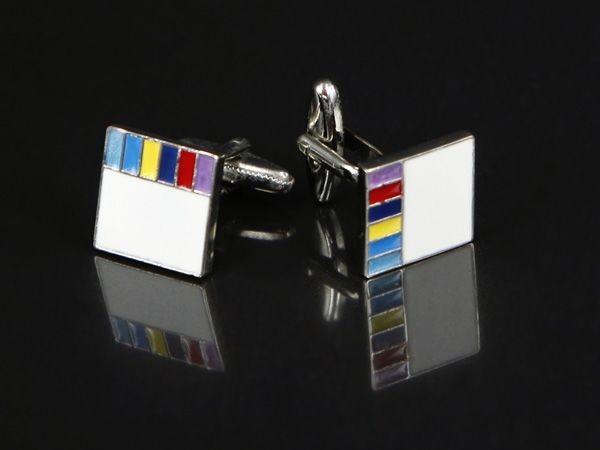 White with Rainbow Edging