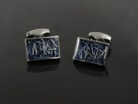 Blue Enamel Cufflinks with Metal Lines