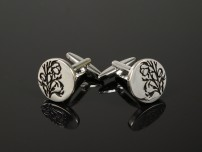 Round Engraved Leaves Cufflinks