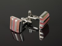Silver Cufflinks with Pink Stone