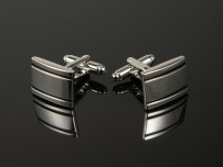 Polished Silver Cufflinks with Black Lines