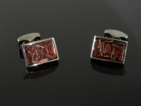 Red Enamel Cufflinks with Metal Lines